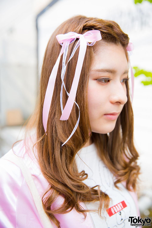 Harajuku Girls In Pink W Dip Dye Hair Ribbons Candy