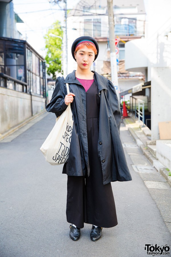 Harajuku Street Style w/ Vintage Jumpsuit, Trench Coat & Beret