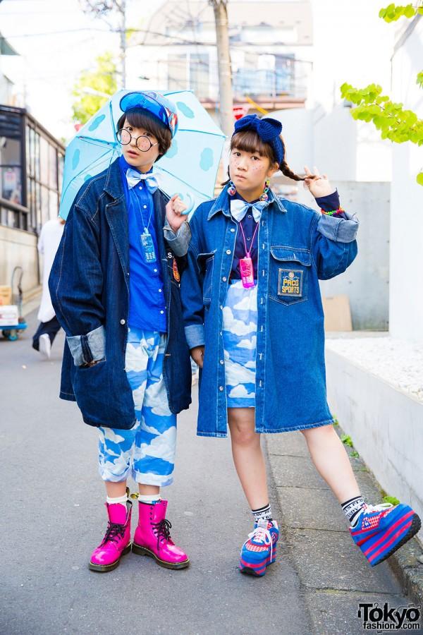 Tempura Kidz' Karin & P-chan in Harajuku w/ Cloud Print, 6%DOKIDOKI & Candy Stripper
