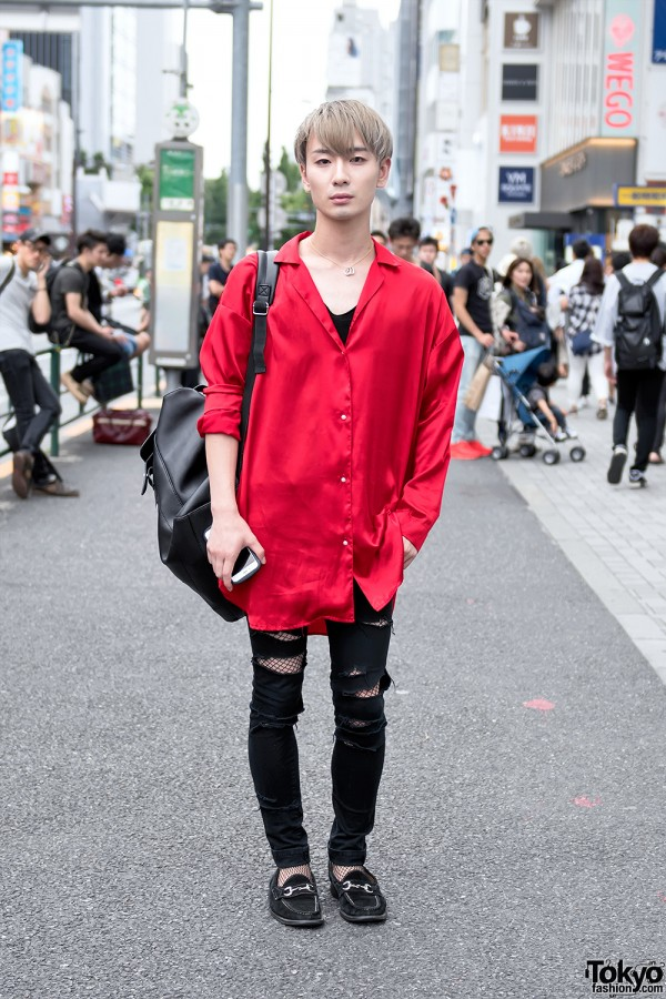Harajuku Guy's Victoria's Secret Shirt, Ripped Jeans, Diesel Bag & Loafers