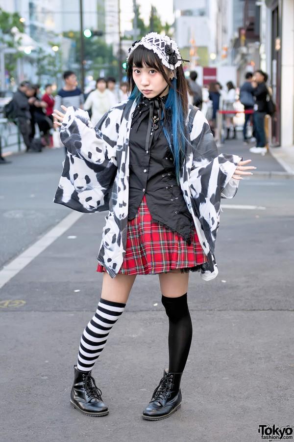 Panda-Loving Idol in Harajuku w/ ACDC Rag Kimono Top, Knee Socks & Three-Eyed Kuma