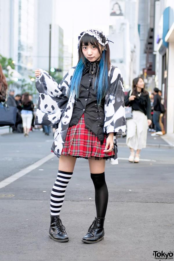 Panda kimono and plaid skirt
