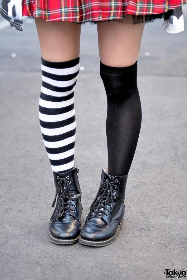 Striped and solid black and white pver-the-knee socks