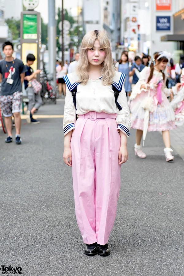 Pastel Hair, Sailor Top, Pink Pants & Comme Des Garcons in Harajuku
