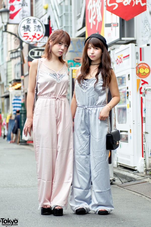 Pink & Blue Camisole Jumpsuits From Bubbles Harajuku & Platform Sandals