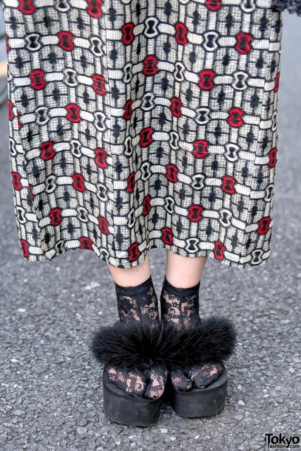 Furry Platform Sandals & Lace Socks