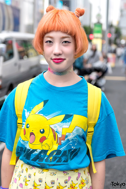 Harajuku Girls W Colorful Hair In Pokemon Fashion Tie Dye