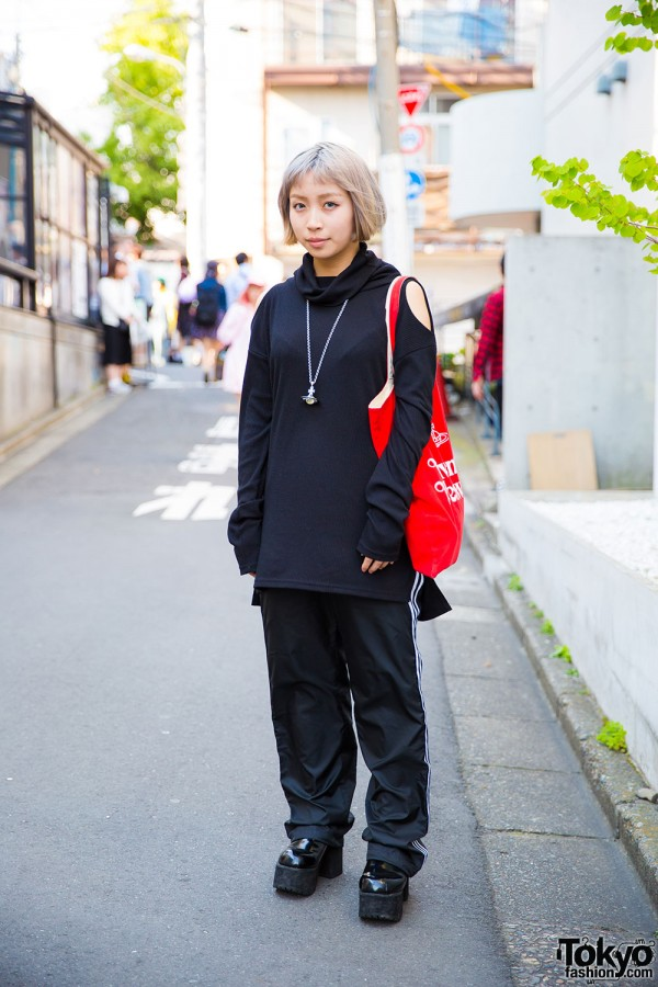 Harajuku Girl in Faith Tokyo Top, Adidas Pants, Bubbles Shoes & Vivienne Westwood Accessories