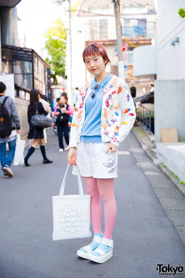 Harajuku Girl in Sequined Cardigan & Shorts
