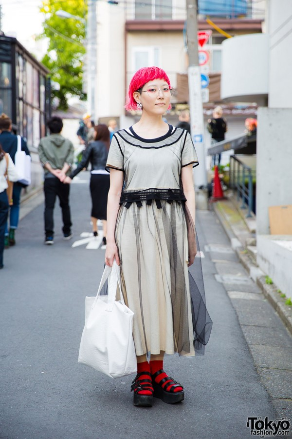 Harajuku Girl in Tricot Comme des Garcons Dress