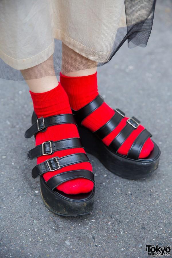 Tokyo Bopper Platform Sandals With Red Socks