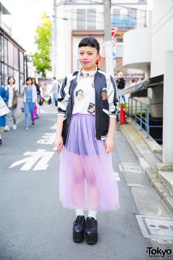 Harajuku Girl in Punyus Outfit w/ Bomber Jacket, Tulle Skirt & Flatforms