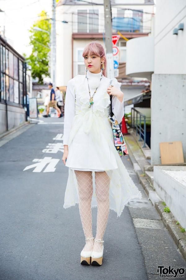 Pink-haired Harajuku Girl in Vintage Lingerie, Nadia Skirt & Eat Me Comic Bag