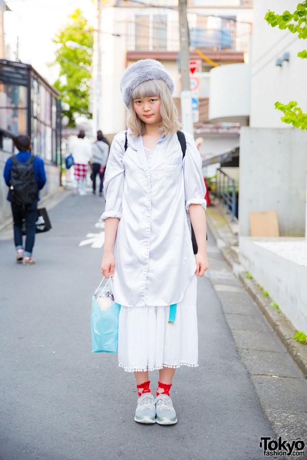 Harajuku Girl San to Nibun No Ichi Long Shirt, Kinji Skirt & Reebok ZPump Sneakers