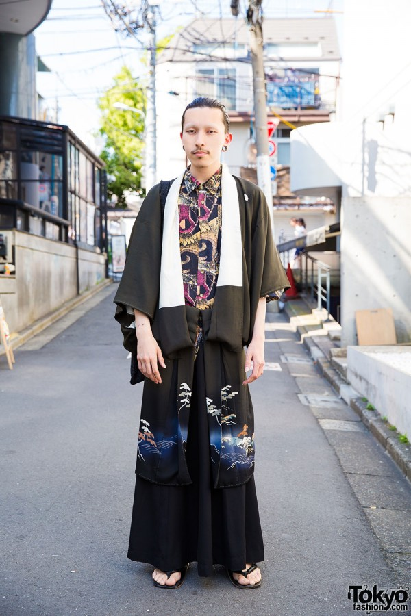 Harajuku Guy w/ Piercings in Kimono, Vintage & Handmade Fashion