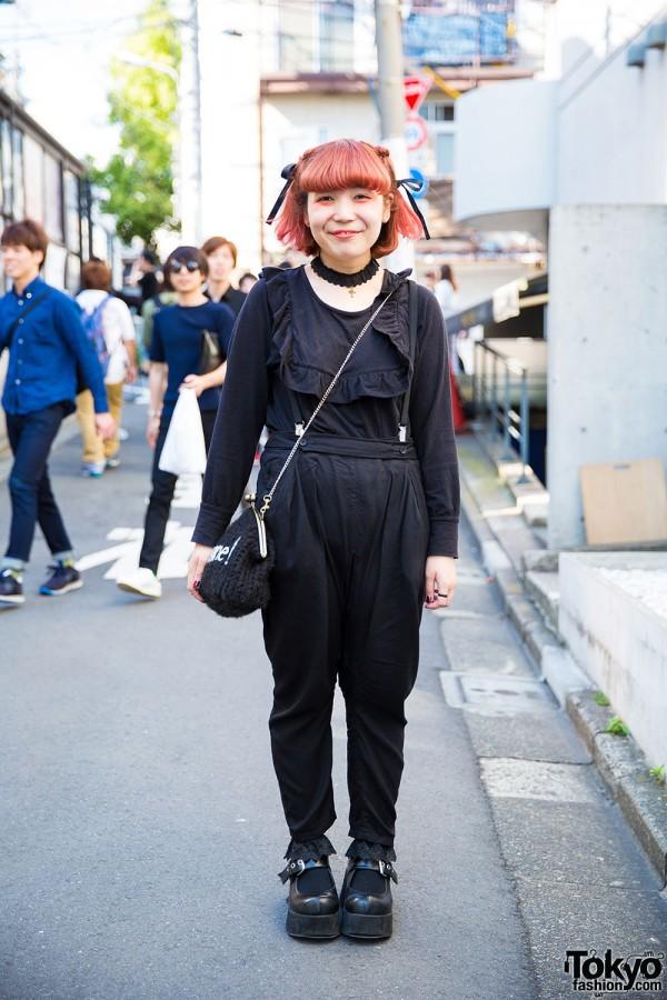 Harajuku Girl in Black Overalls, WEGO Mary-Janes, Lace Choker & [me] Jewelry