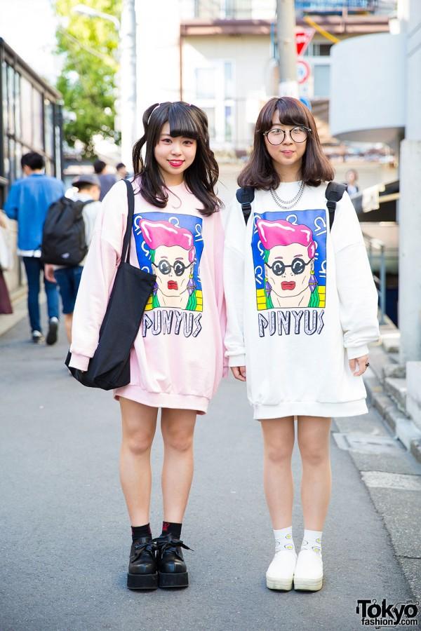 Harajuku Girls in Punyus Sweatshirts, w/ WC, WEGO & Platforms