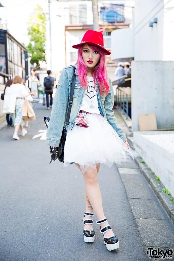 Moth in Lilac's Lisa13 w/ Denim Jacket, ANAP Tutu & Yosuke Platform Heels in Harajuku
