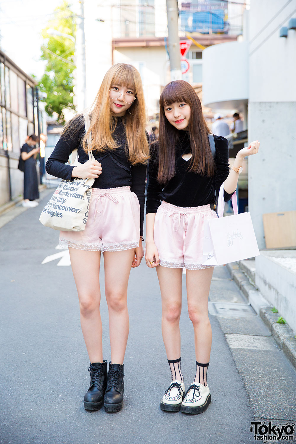 Harajuku Girls In Matching Pink Shorts W/ Bubbles, One Spo