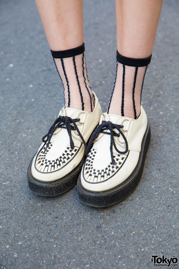 White Creepers With Sheer Socks