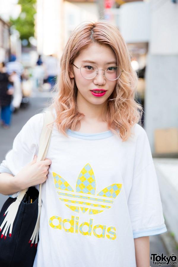Blonde Hair & Adidas Shirt in Harajuku