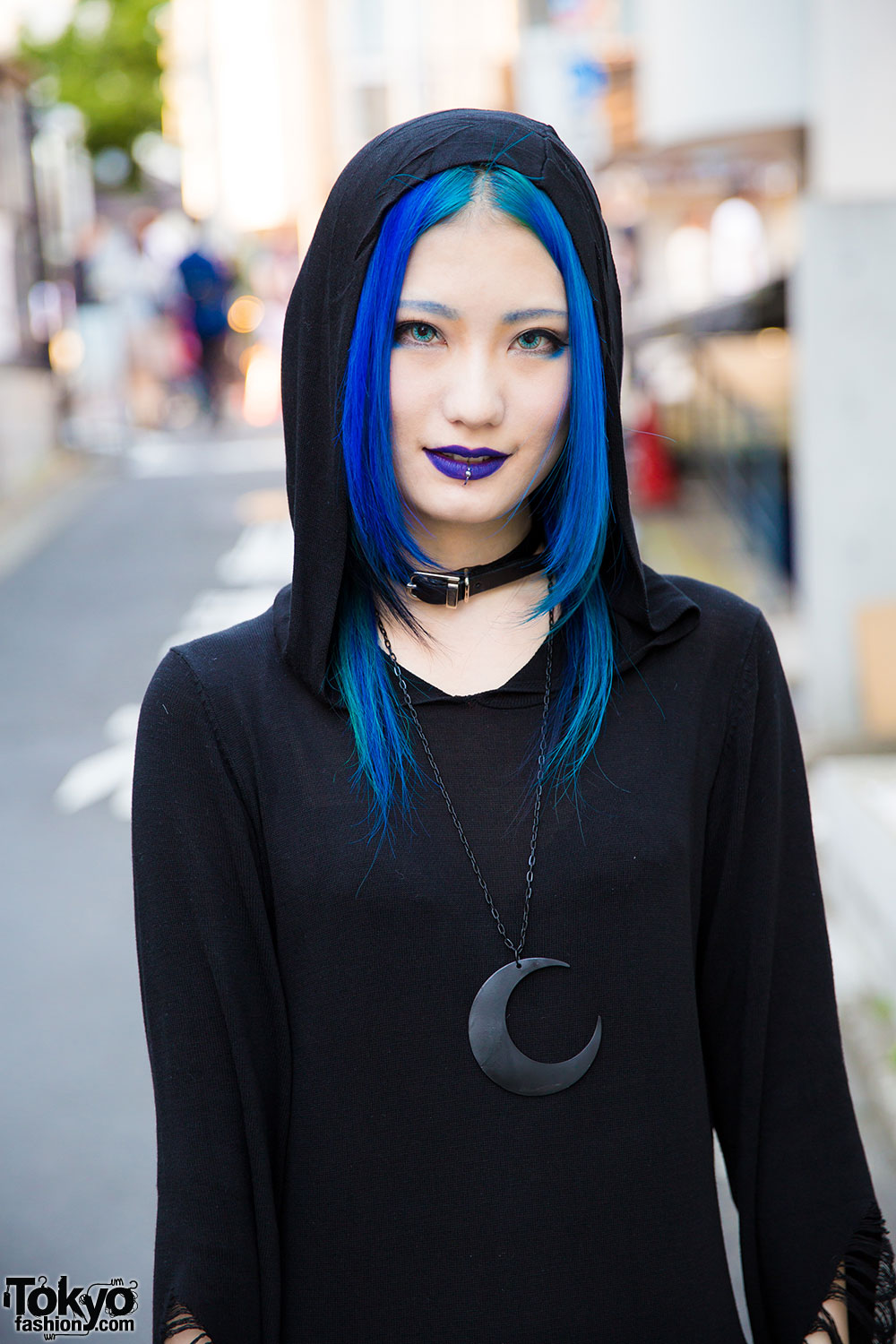 Blue Haired Harajuku Girl In All Black Killstar Hooded