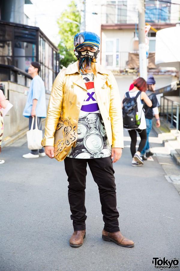 Harajuku Guy with Face Mask in Quartet Jacket, Dog Clutch & Zara Boots