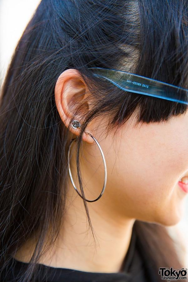 Ear stud and hoop earrings