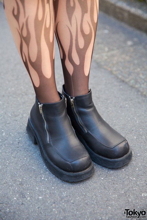 Unif Flame Tights and Zipper Boots