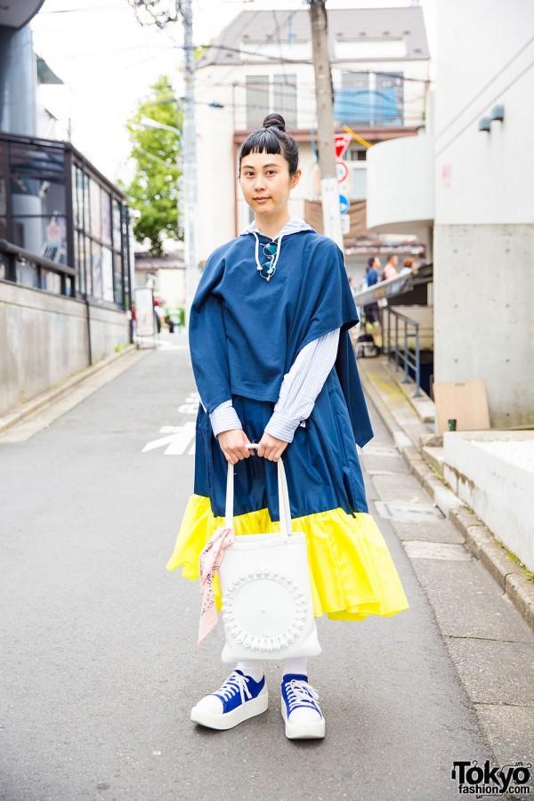 Harajuku Girl in Handmade Dress with Facetasm Top & Tokyo Bopper Tote Bag and Sneakers