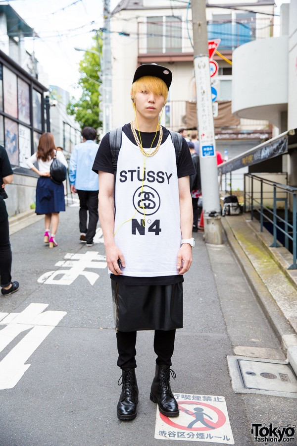 Harajuku Guy in Stussy Shirt and Zipper Skirt Over Pants