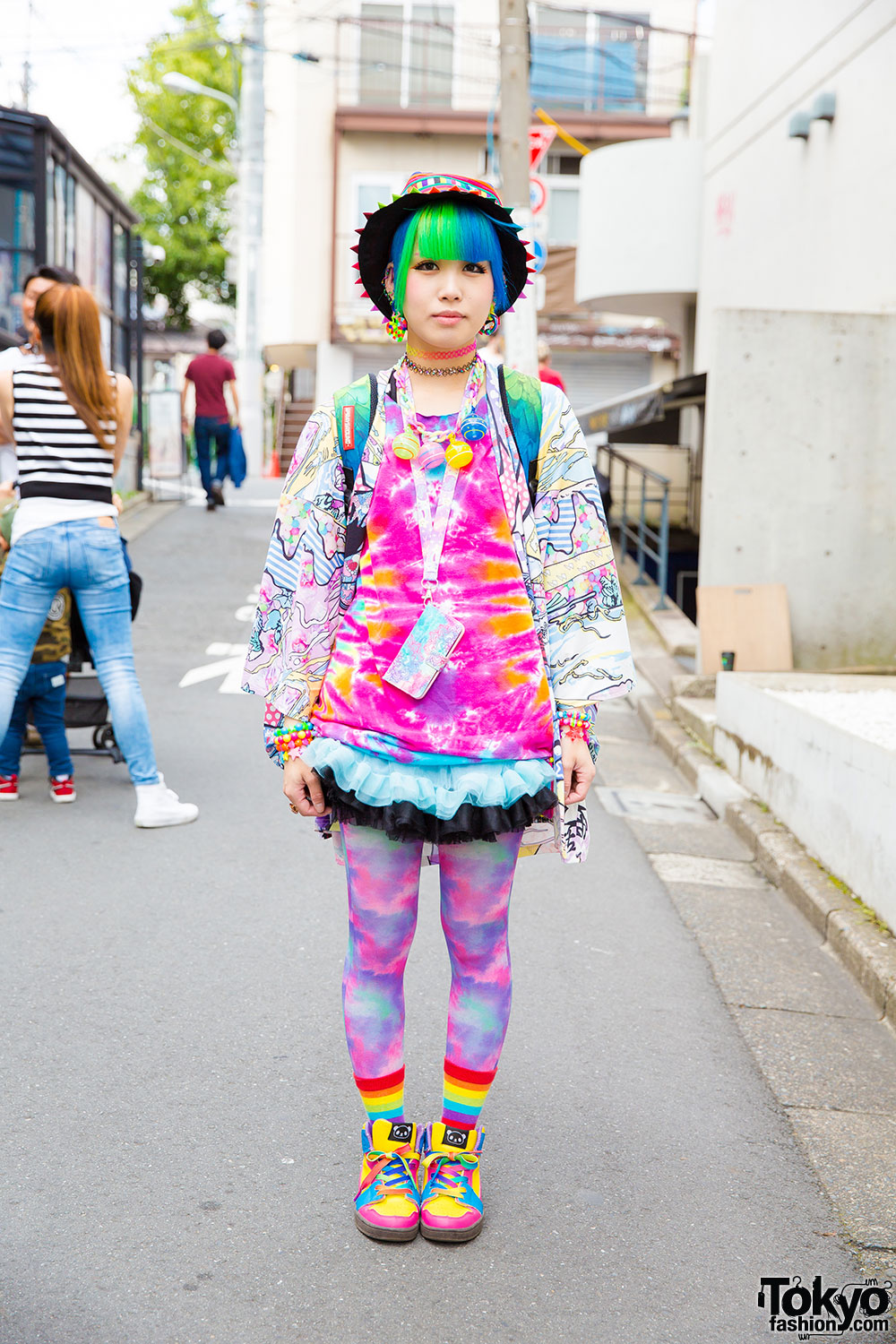 Harajuku Girl In Rainbow Fashion Piercings W Acdc Rag Sprayground Swimmer Japan Claire 39 S