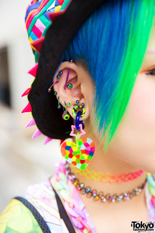 Harajuku Girl In Rainbow Fashion Amp Piercings W Acdc Rag
