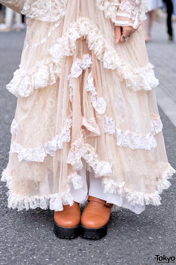 Vintage Ruffle Dress in Harajuku
