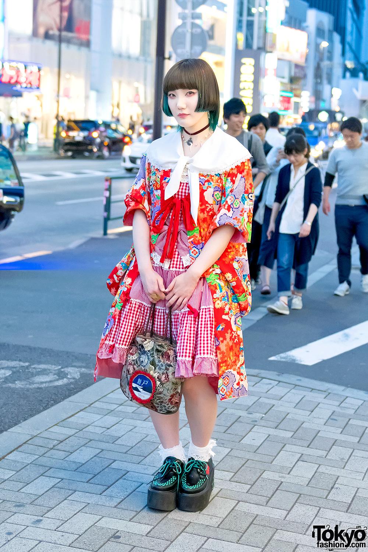 Kimono Coat W/ Angelic Pretty, Under Dye Bob Hair & Yosuke