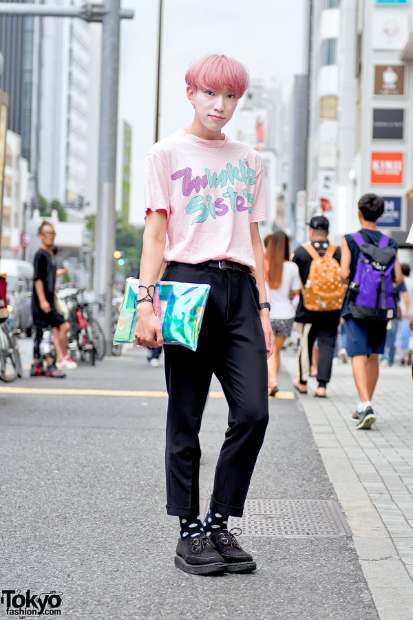 Harajuku Guy w/ Pink Hair in Galaxxxy Japan & George Cox Creepers