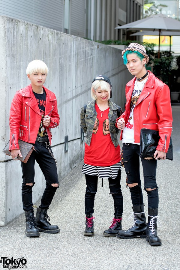 Harajuku Punk Styles w/ 666 Japan Leather Jackets, Skinny Jeans & Dr. Martens Boots