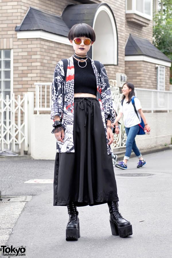 Harajuku Girl in Kimono Jacket & Wide Pants