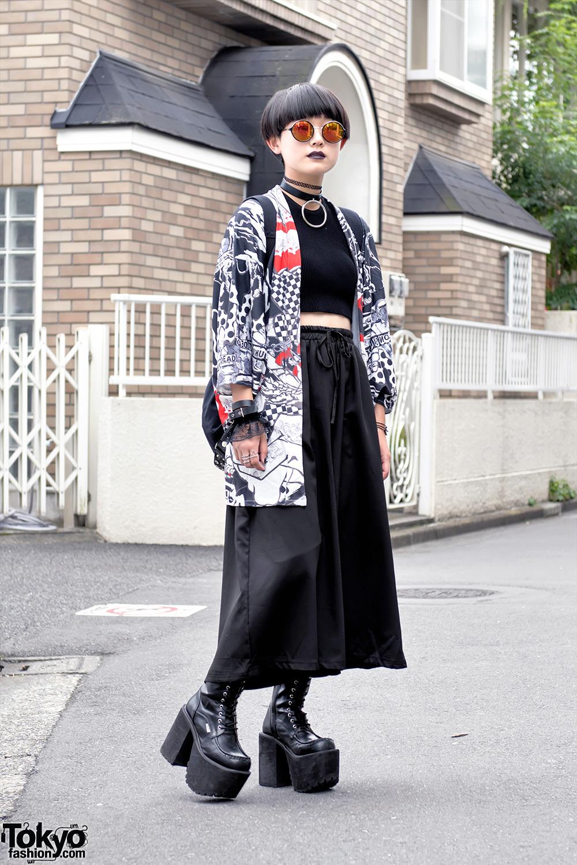 Harajuku Street Style W Acdc Rag Kimono Jacket Glad News Hellcatpunks