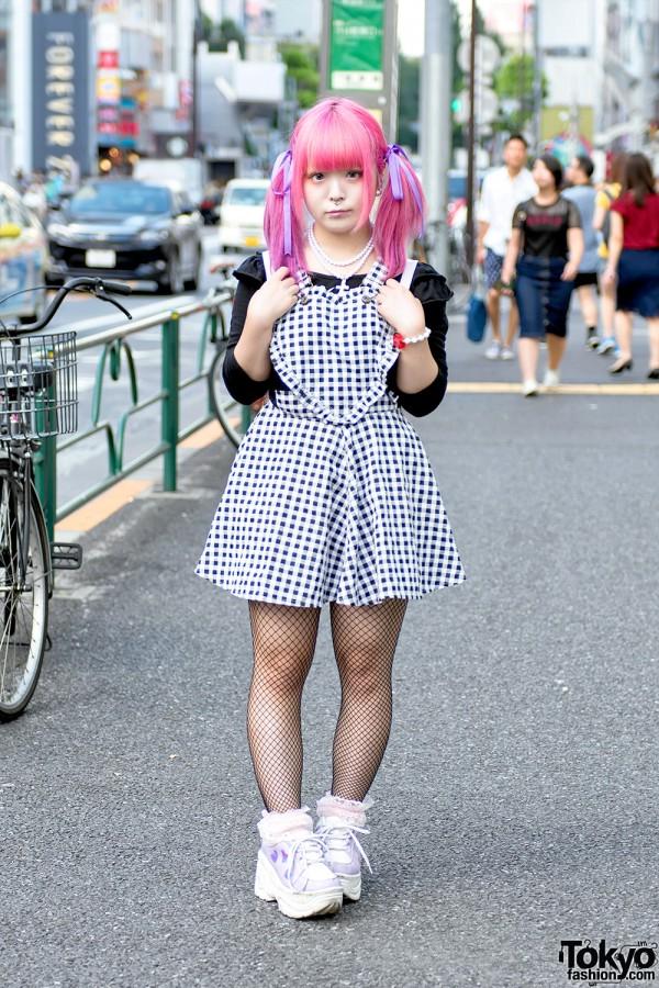 Japanese Artist Kuua w/ Pink Twintails & Piercings On The Street in Harajuku