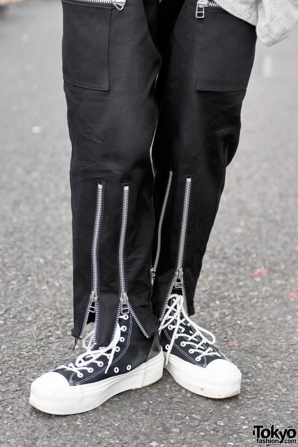 Banal Chic Bizarre Zipper Pants & Sneakers