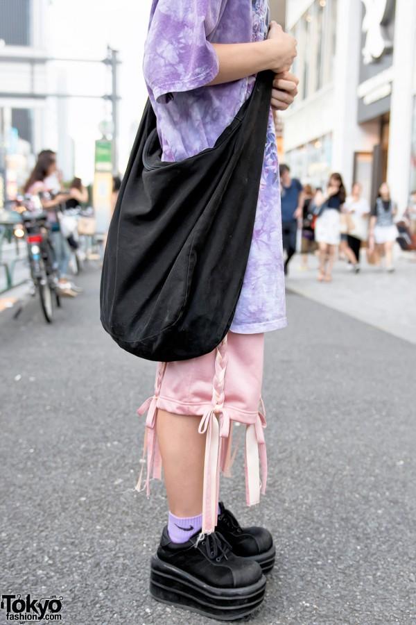 Black Canvas Sling Bag & Nicopanda Shorts