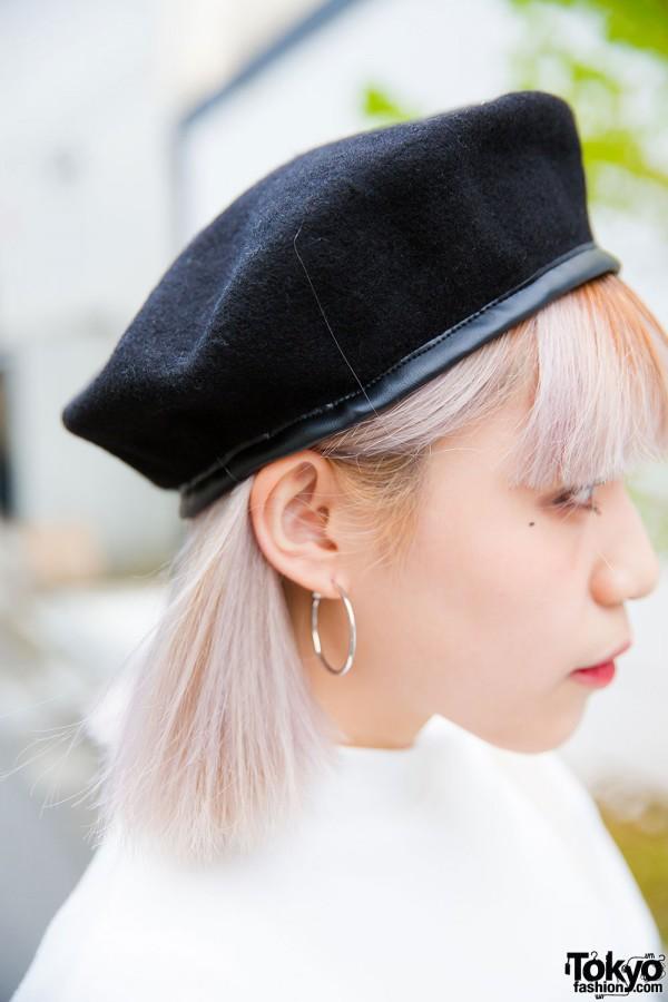 Suede beret and hoop earrings