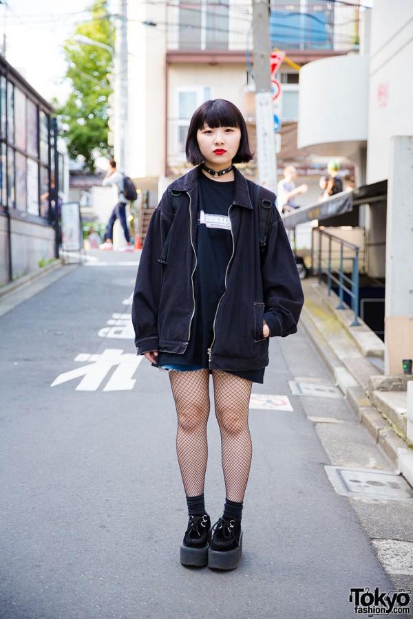 Harajuku Girl in All Black Resale Fashion with Nadia Platform Creepers