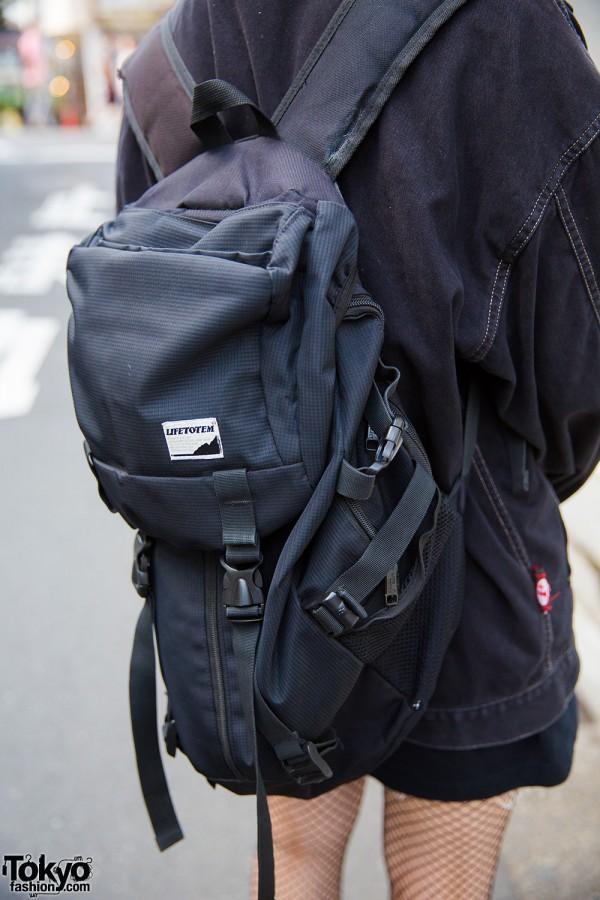 Black backpack in Harajuku