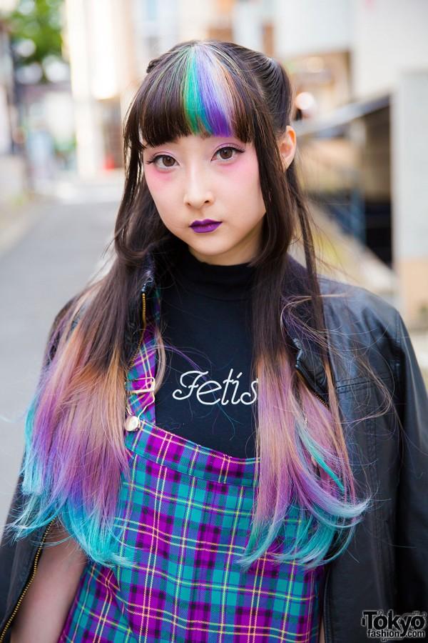 Lil Lilly t-shirt, Morph8ne jumper dress and dip dye hair