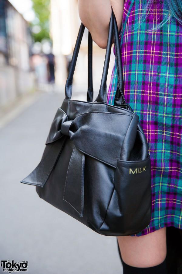 Milk black leather handbag