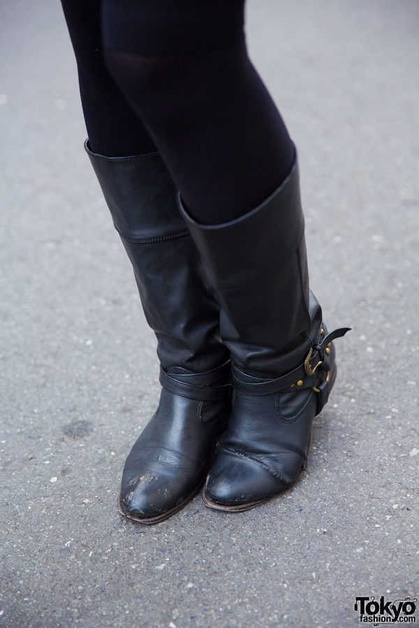 Over the knee socks and mid-calf leather boots