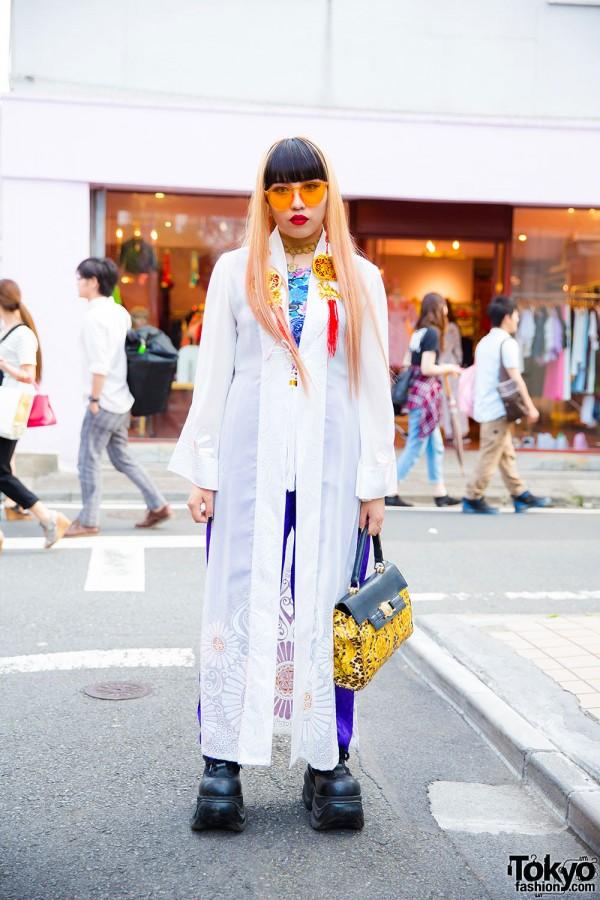 Harajuku Girl in Long Jacket, Demonia Platforms, Gianni Versace & Kobinai