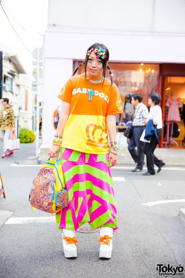 Harajuku Girl in Colorful Kawaii Fashion w/ Baby Doll, Kinji & Yoshida Beads